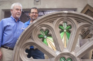 Charlie Foust, president of Clarksville Foundry, worked with Nashville stained-glass artisan Dennis Harmon to create three rosette windows built of cast aluminum frames and stained-glass insets. (Photo: BLF Marketing)