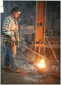 Matthew Padgett, a Clarksville Foundry employee for more than 40 years, passed away May 16, 2016. He is pictured during his early days as a laborer working with molten metal.  During his career at the Foundry, he worked his way up to sales manager and chief estimator.