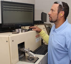 Clarksville Foundry uses a spectrometer, which analyzes sample materials to provide a read-out for chemical composition of 23 elements. The spectrometer helps ensure accuracy of mechanical properties and is a valuable internal process control tool.
